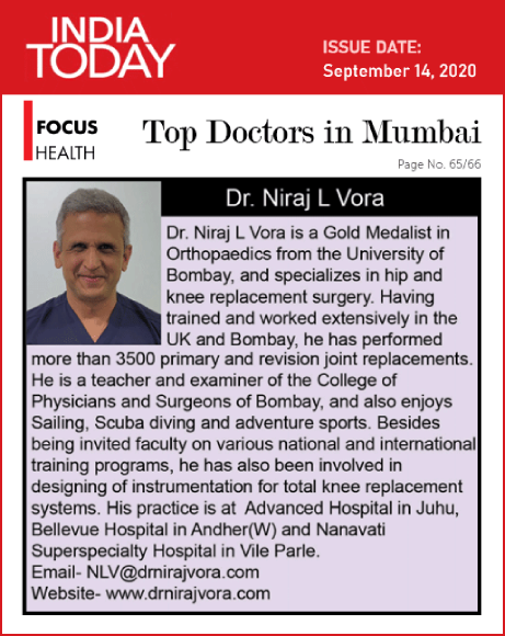 Dr. Niraj Vora is Now India Today's 'Top Orthopaedic & Joint Replacement Surgeon in Mumbai' for 2020